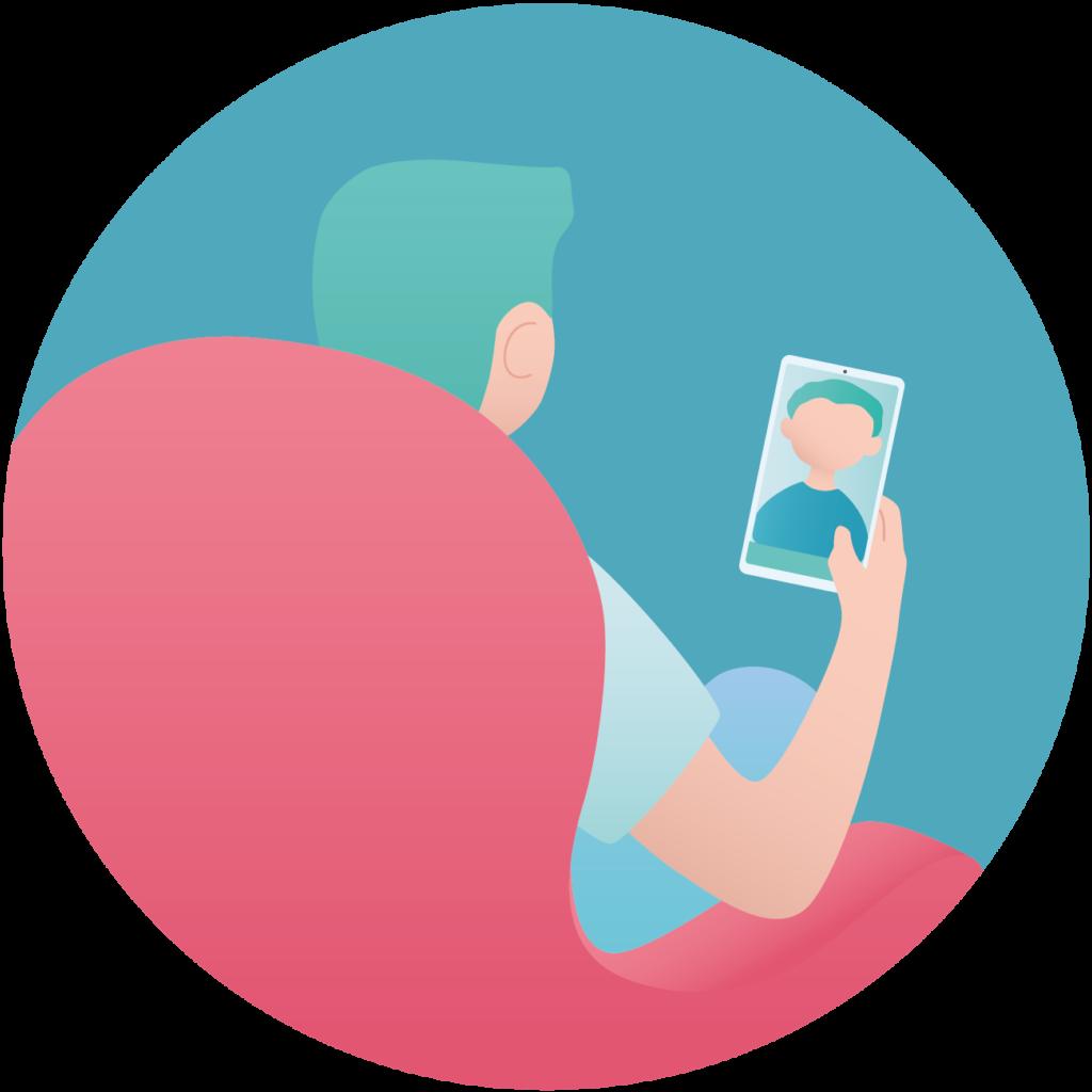 Patient en consultation vidéo
